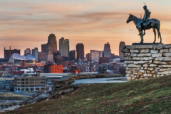 Kansas City - KC skyline dusk