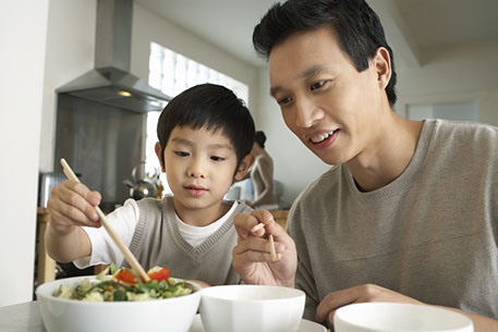 residential - father son eating