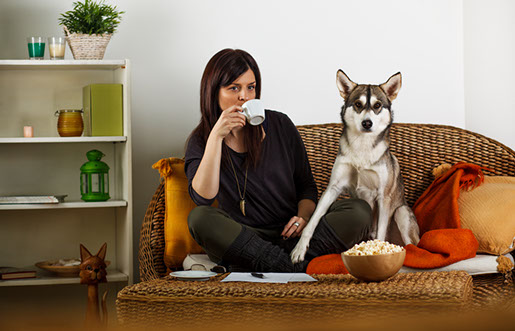 residential - woman couch with dog